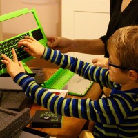 My son unpacking the Pi-Top.