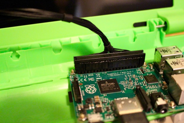 Attaching the GPIO breakout cable to the Pi.
