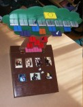 A representation of how the completed game looks with photos and playing pieces.