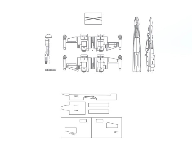 X-Wing T-70 Template