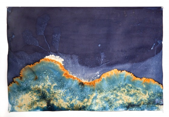 """Littoral Drift #09 (Rodeo Beach, CA 11.07.13, Three Waves, Buried and Flooded); unique cyanotype, 24""""x30"""""""