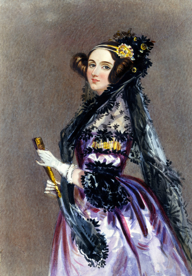 Watercolor portrait of Ada King, Countess of Lovelace by Alfred Edward Chalon