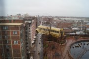 A school bus teetering on the edge