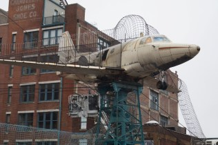This airplane was damaged in a flood. Now it's a club house.