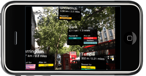 "One of the first Augmented Reality applications to go live in the Apple App Store was the ""Nearest Tube""application. (Credit: acrossair)"