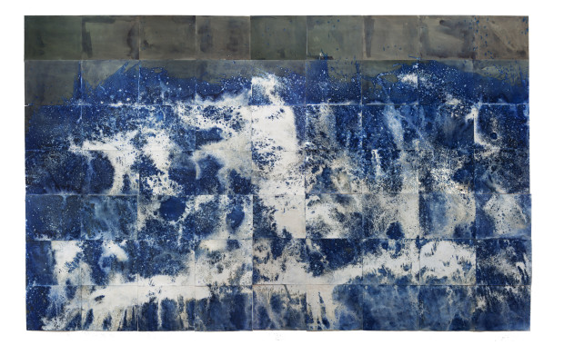 Littoral Drift Nearshore #209 (Springridge Road, Bainbridge Island, WA 02.12.2015, Fletcher Bay Water Poured and Fletcher Bay and Fay Bainbridge Silt Scattered), grid of unique cyanotypes, each 19 x 24 inches, totaling 114 x 216 inches Courtesy of the artist and EUQINOMprojects