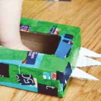 Monster Feet made from tissue boxes.