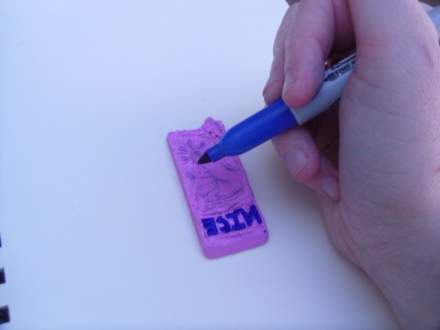 Carve a Stamp Out of an Eraser with an Aluminum Can