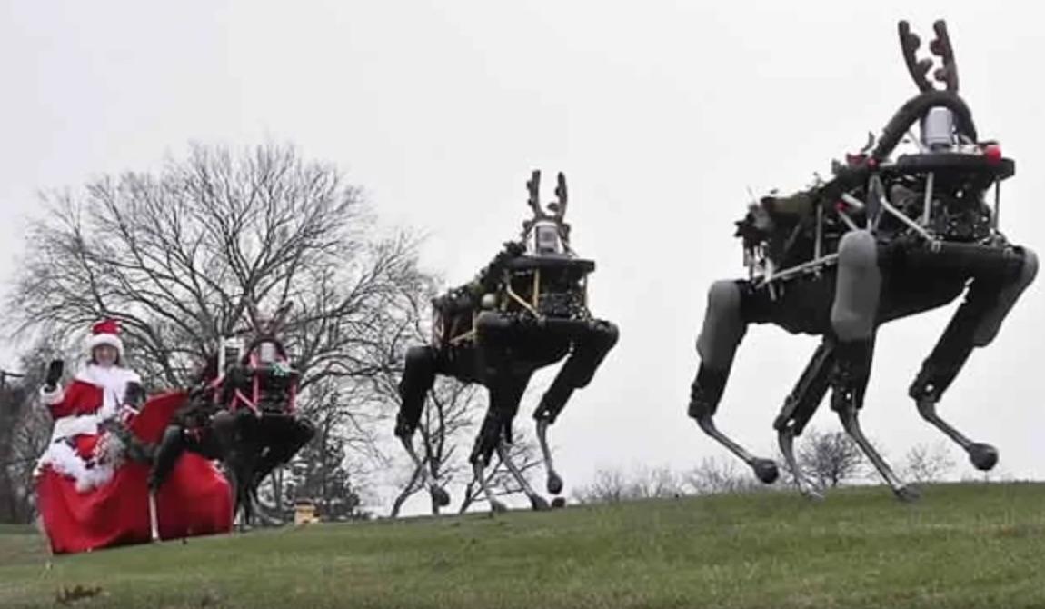 Santa and a Sleigh of Three Tiny Robo-Reindeer