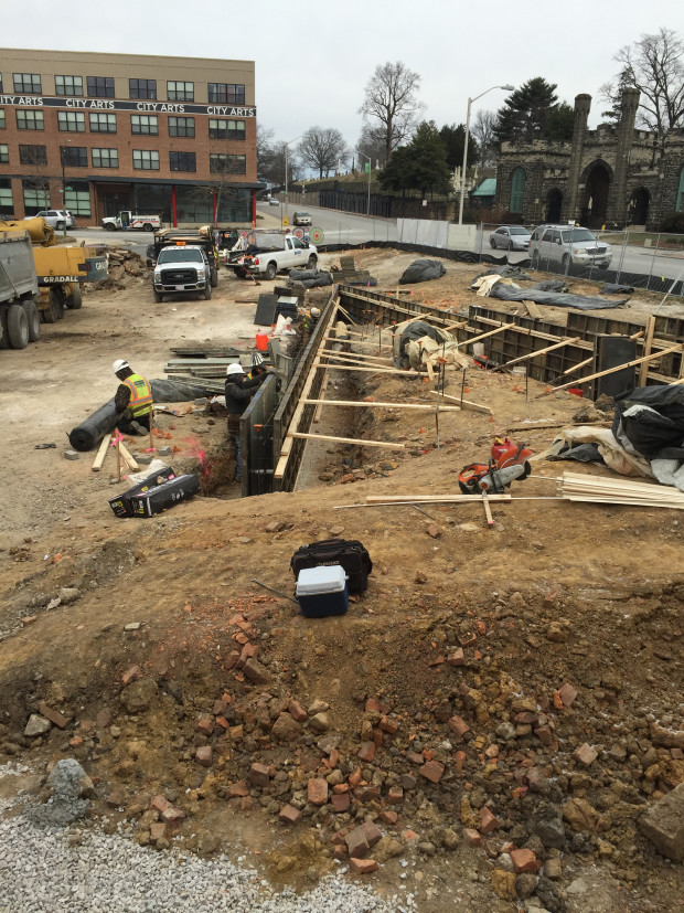Preparing formwork for entrance retaining walls. Photo by Will Holman.
