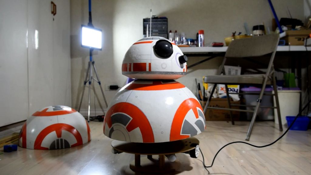 Kid Builds BB-8 Robot Out of Beach Ball, Roll-On Deodorant, and Speaker Magnets