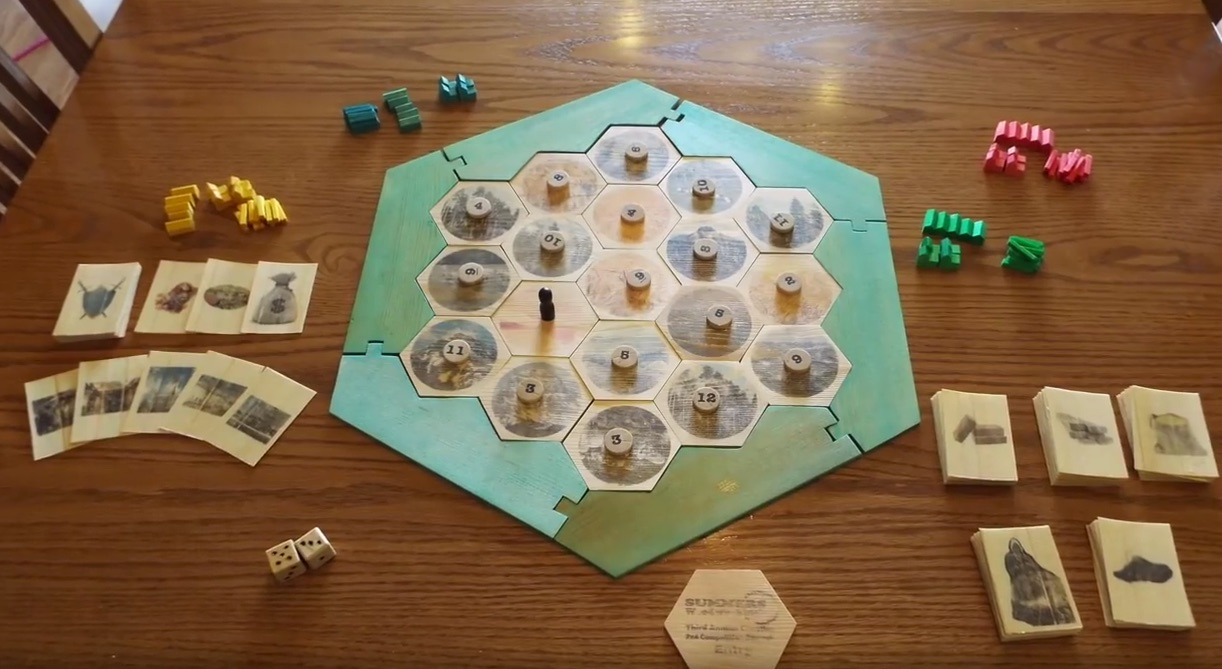 Guys Makes Complete Settlers of Catan Out of a Single 2×4