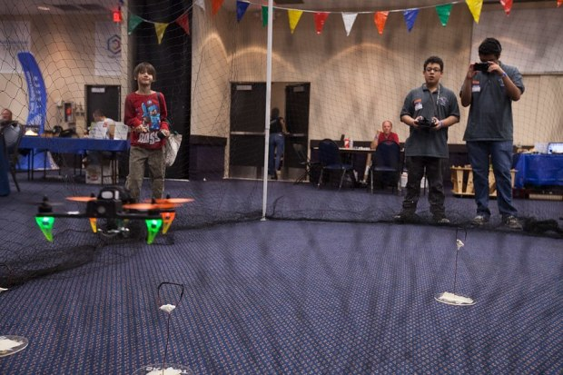 "Seth Welday: http://dronesmith.io/ ""The drone net and obstacle course — Photo by Julian Kilker"""