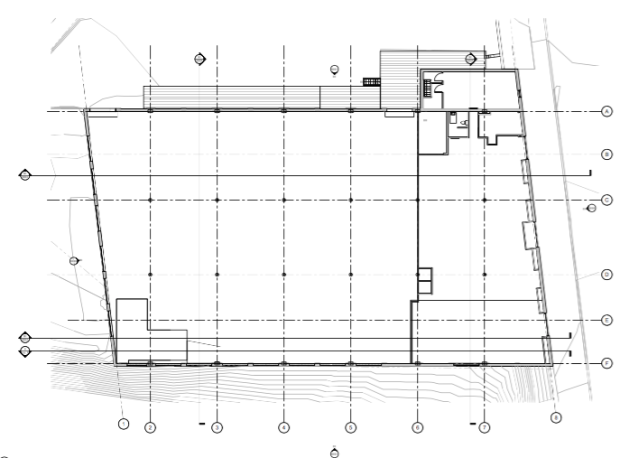 Example of -as-built- base blueprint, showing earth contours, structural column grid, existing walls, and site conditions. Image courtesy of CBHA.