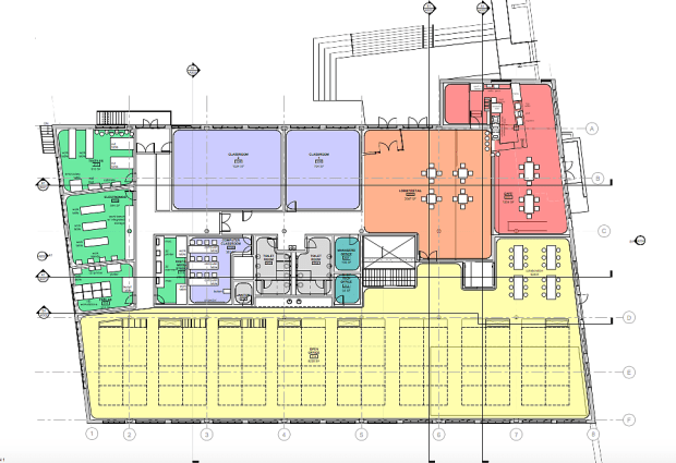 Example of schematic design floor plan, arriving at a finer level of detail and scale. Image courtesy of CBHA.