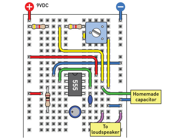 Figure I: Breadboard layout for squeezable audio.