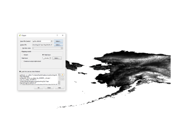 I then used QGIS (http://www.qgis.org/en/site/) to load and merge the files together so I had a single image of the United States.The GeoTIFF files use grayscale values to represent elevation. I grabbed state borders from https://www.census.gov/geo/maps-data/data/cbf/cbf_state.html and loaded those into QGIS as well, and then used the clipper to split the image up so I had 50 individual files, one for each state.