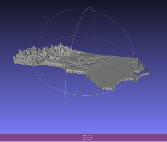 All done! Down under 10,000 faces, so we can export this simplified STL file. You can see we've lost some texture, especially in the plains. That's regrettable, but unavoidable, and you probably can't cut that much texture anyway.