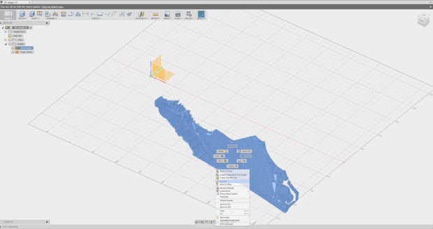 Import the STL into Fusion 360 and then convert it so you have a body instead of a mesh body. Align the bottom of the state (the underside, if you will) with the Z-plane.