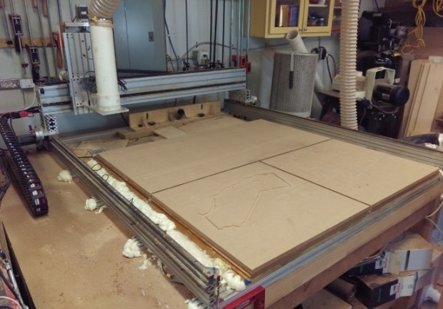 Homemade CNC, roughly 4' x 4' travels. Loosely inspired by CNCRouterParts (and using a few of their parts), with some upgraded components.
