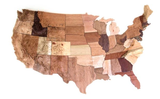 Total size is about 7' x 4'. Fifteen species of wood were used: oak (red & white), birch, ash, poplar, walnut, maple, butternut, cherry, cedar, mahogany (African and Honduran), pine, and two mystery woods.
