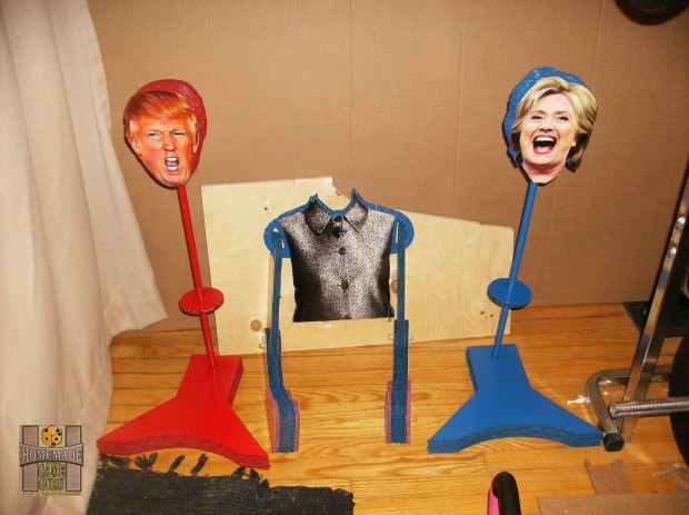 The detachable heads of both Clinton and Trump on the swivel stands for their bodies.