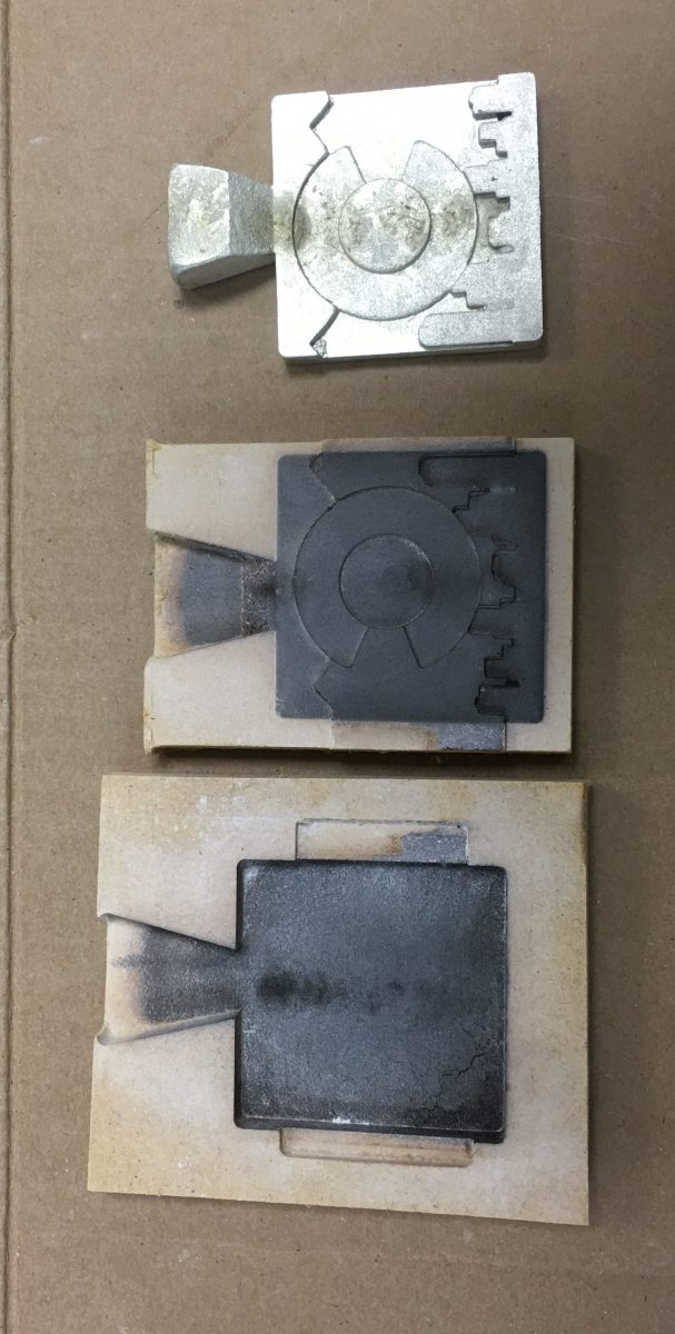 Take mold apart for CMC milling pewter casting project