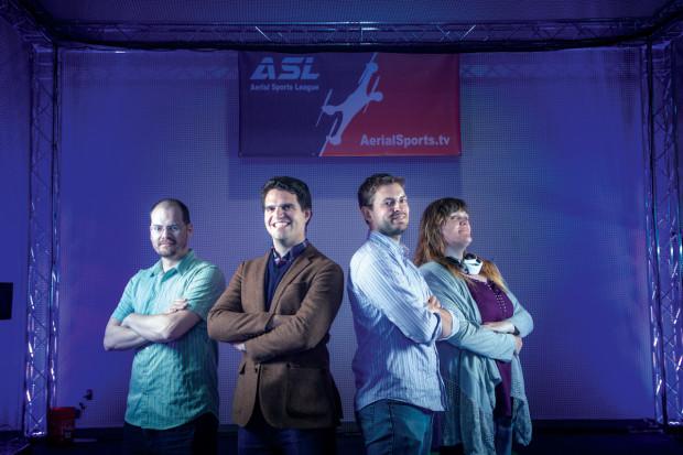 Asa Hammond, Niels Joubert, Nathan Schuett, and Zoe Stumbaugh. Photo by Hep Svadja