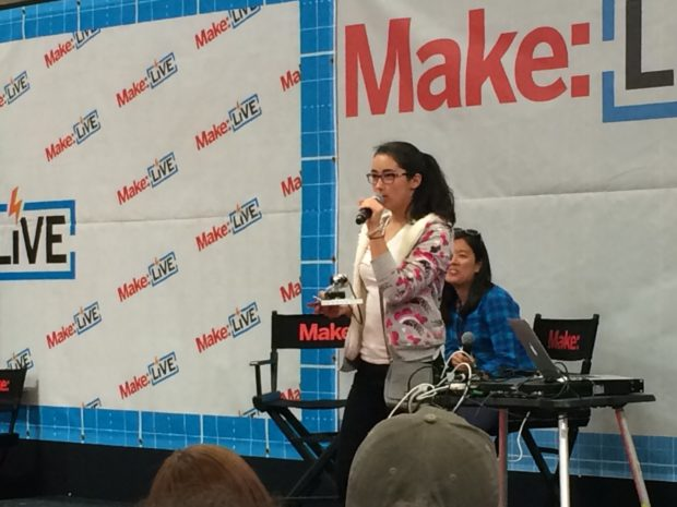 """""""I recently got into teaching kids what I know because I feel like I didn't get that privilege [in school]"""" -- Sasha Jaffarove at the Make: Live stage (Bonus: """"Making is not graded!""""). This girl is awesome! (Lisa 2:42)"""