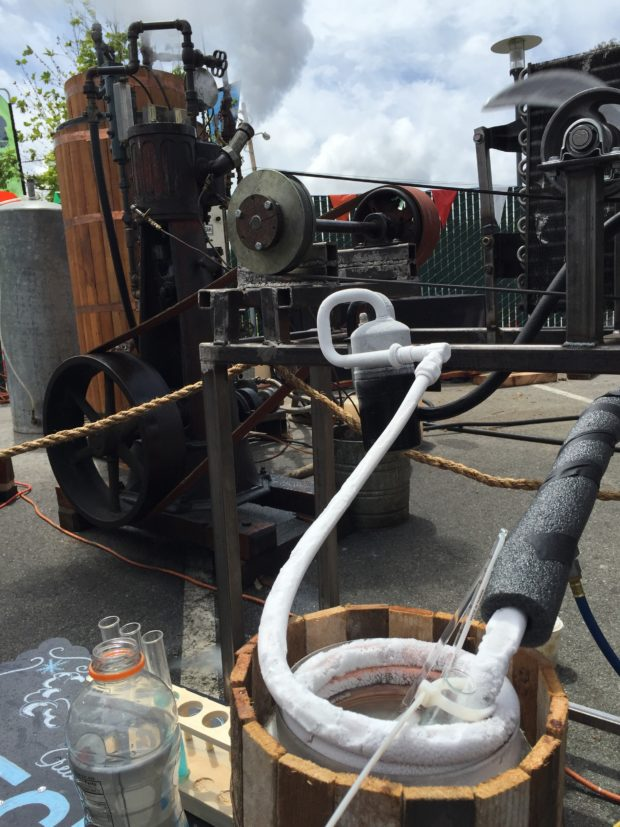 Behold, fire turned into ice! Steam-powered refrigeration from our friends at Kinetic Steam Works. If only we'd had Freon in the 1800s.