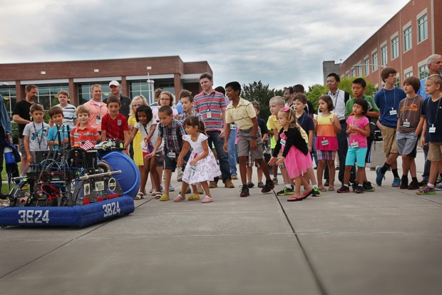 High school students built these robots with assistance from mentors at Oak Ridge National Laboratory. Photo by Rachel Brooks