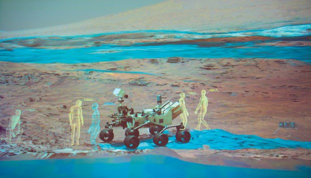 With JPL's OnSight program, users explore the terrain of Mars made from actual photos collected by the Curiosity rover. Photo by Mike Senese