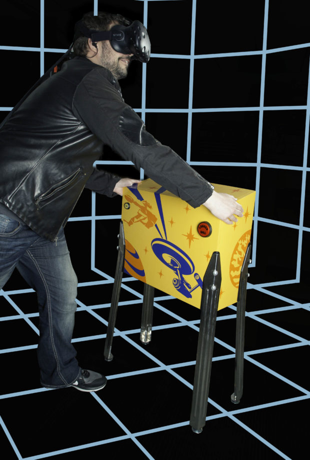 The PinSim VR cabinet puts the feel of real pinball in your hands. Built and tested by Anthony Lam, Make: Labs. Cabinet art by James Burke.