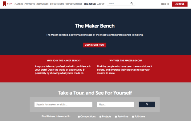 Screenshot of Made Right Here job board.