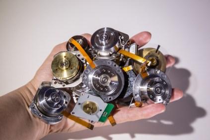 A handful of hard drive motors.