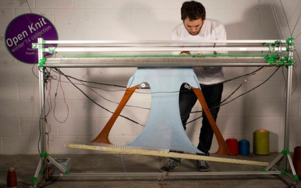 Gerard Rubio working with his OpenKnit machine.