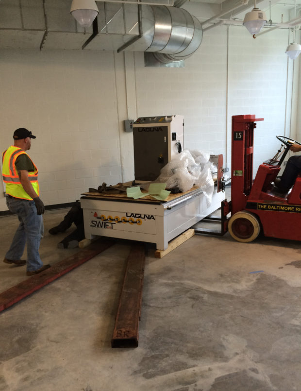 Our first CNC machine, a Laguna Swift, was delivered on July 7th. Image by Hannah Wides. (1)