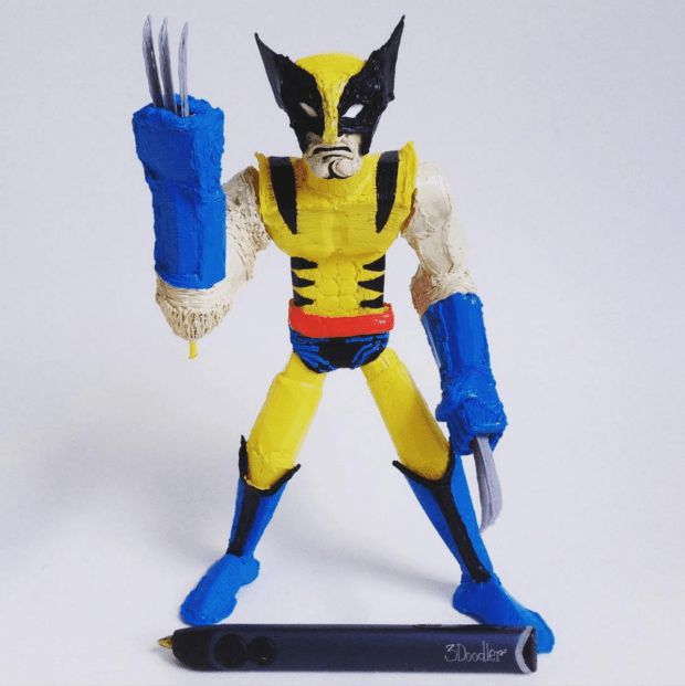 A 3Doodled action figure with spring-loaded claws made from a 3Doodled spring. Image courtesy of WobbleWorks, Inc.