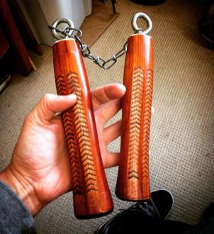 Nunchucks made from hammer handles