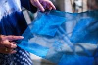 Degummed silk dyed in indigo from a workshop at the Kaneko Museum in Omaha, Nebraska.