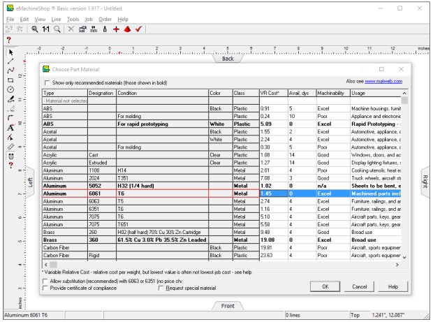 Screenshot of eMachineShop Free CAD Materials Selector Tool