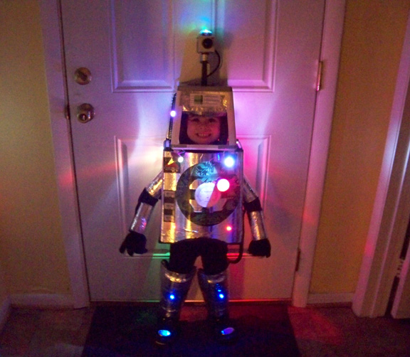 6 ways to light up your halloween costume make what the lights on this little robot are made of the look could be easily be recreated by strategically taping led throwies around your robot costume solutioingenieria Image collections