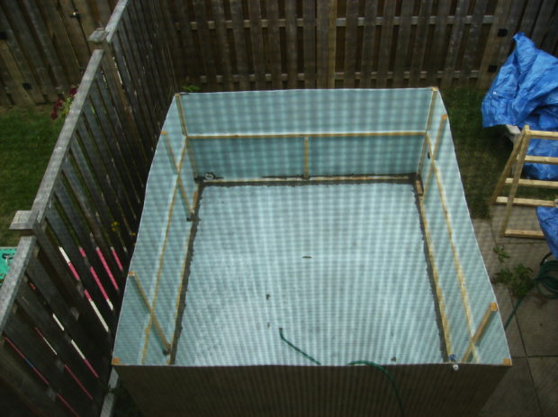 top view of the 2011 cardboard swimming pool