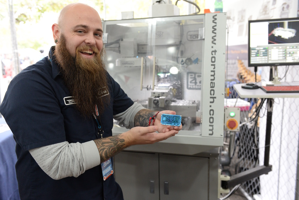Tormach is milling tiny aluminum cases for the Raspberry Pi Zero. Chris Fox shows one off. They're pretty great. (Sunday, Mike Senese)
