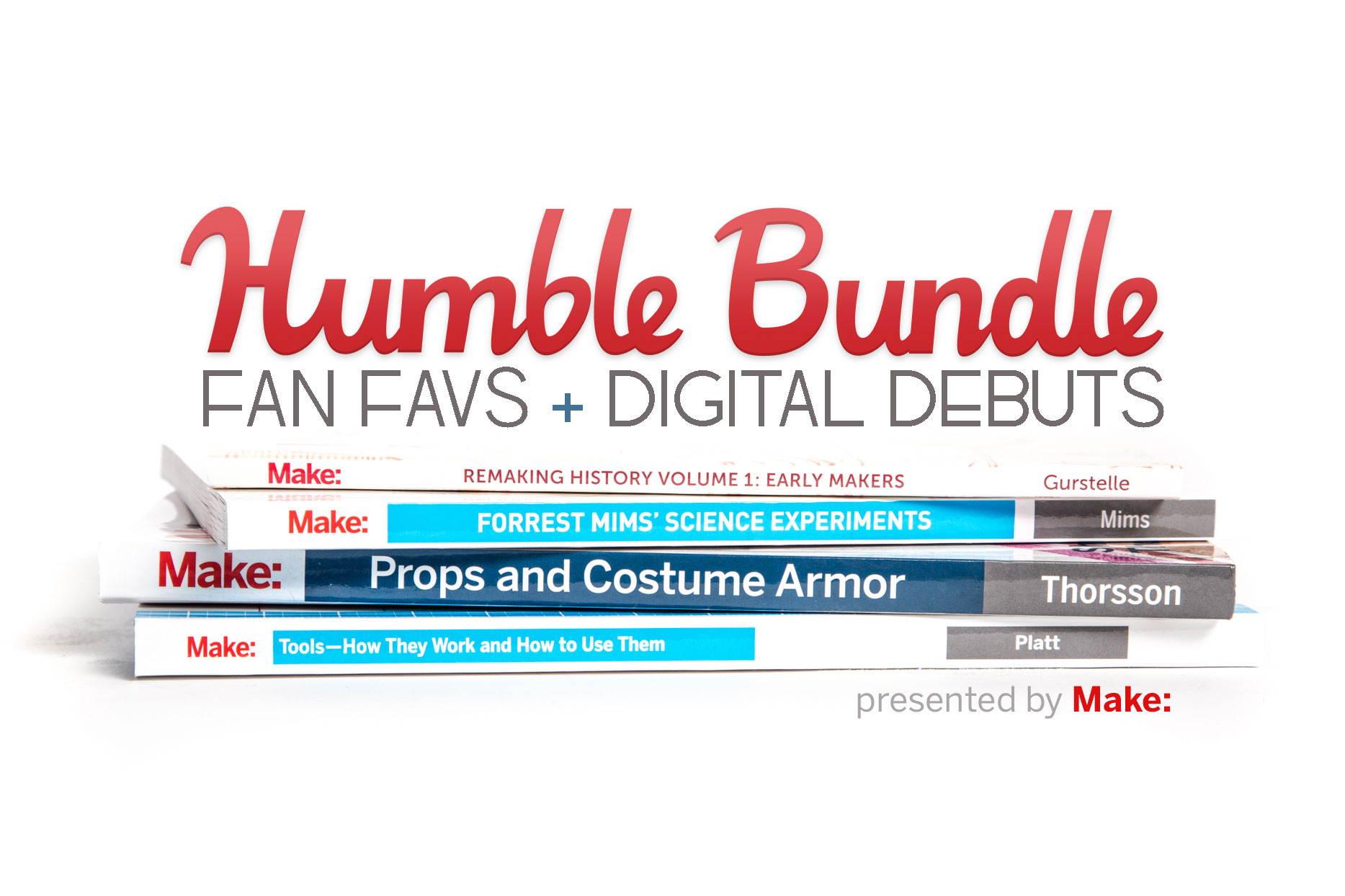 """Books piled up with """"Humble Bundle Fan Favs + Digital Debuts"""" written above."""