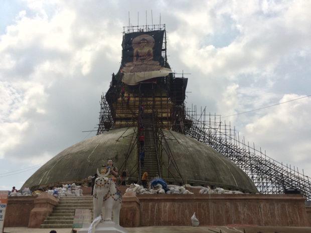 Boudanath Temple, still under repairs