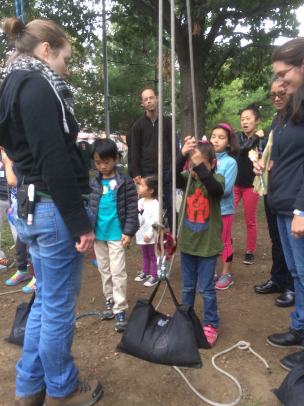 Learning how to use pulleys with the technical artisans association (3:48pm, Caleb Kraft)