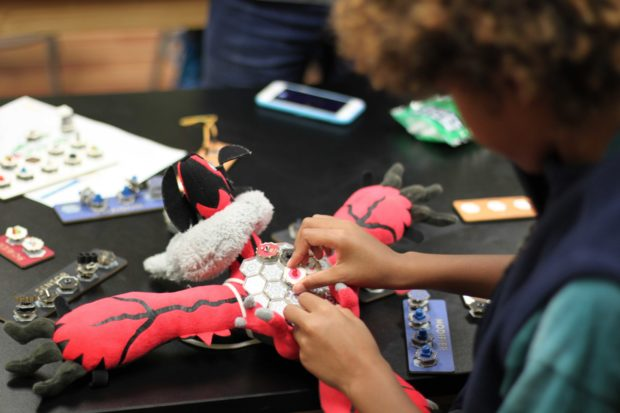 A 9-year-old boy making with MakerWear