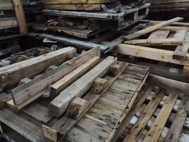 Stacks of pallets and scrap wood