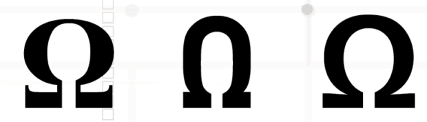 Three samples of the Greek symbol omega, used to represent electrical resistance